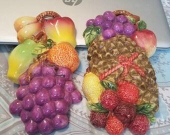 Fruit wall plaques  set of 4 porcelain ceramic