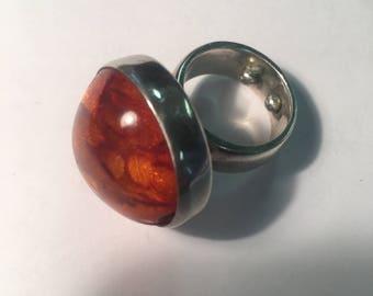 Vintage Amber Ring Set on 925 Sterling Silver