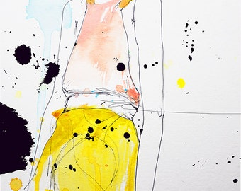 "Fashion Illustration Art Print, Woman, Mix Media Painting by Leigh Viner - ""Figure"""