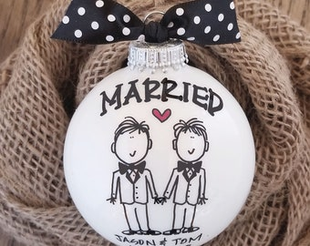 Wedding Gift, Married Ornament, Groom Groom Gift, Gift for Gay Couple, LGBT Married Ornament, Just Married Gift, Personalized Gift