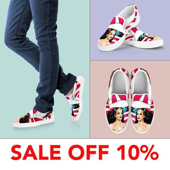 ef29981adb651e Vans Wonder Woman Custom Slip On Tiara Shoes YYvqArW
