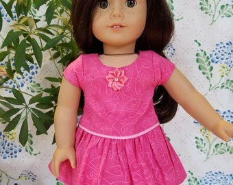 "Pink Floral Print Dress for American Girl and 18""Dolls"