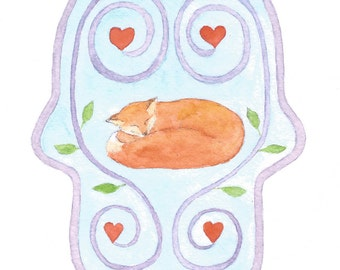 Hamsa / Greeting Card / Note Card / Watercolor / Recycled Paper / Blank / Good Luck / Protection / Fox / Hearts