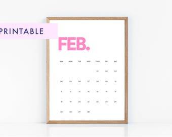 2018 Calendar, Wall Calendar, Wall Art, Printable Calendar, Bright Calendar, Minimalist Calendar, Colorful Calendar
