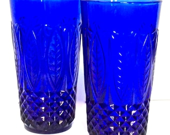 Cobalt Set of 2 Tall Tumblers Luminarc Cristal D'Arques France
