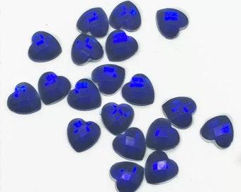 Blue 10mm Rhinestone Heart Embellishments 50pcs   S28