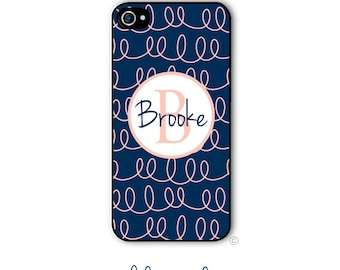 Doodle Phone Case Monogram iPhone 6 Case Navy Coral iPhone 6s Case Samsung Galaxy S5 S6 Case iPhone 5 iPhone 6 Plus iPhone 5c Style 184
