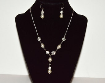 Drop Pearl Necklace, Pearl Necklace Set, Bridal Jewelry