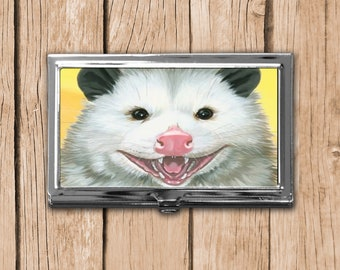 Opossum Business Card Case, Available in Silver or Bronze, Magnetic Needle Case, Card Storage Case, Needle Storage, Opossum Rescue
