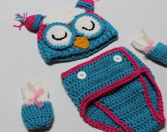 Colorful Owl Diaper Cover Set Teal Blue