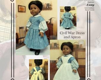 "PDF Pattern KDD12 ""Civil War Dress &Apron""- An Original KeepersDollyDuds Design, makes 18"" Doll Clothes"