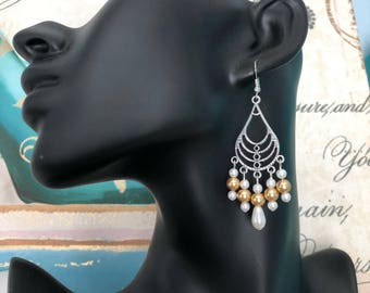 Gold Glass Pearl Earrings, White Glass Pearl Earrings, Antiqued Tibetan Silver Chandelier Earrings, Handmade Earrings