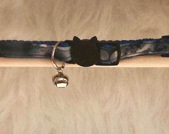 "Blue Tie Dye Cat Collar- ""Blue Haze""- Breakaway Cat Collar / Kitten Collar"