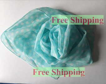 Gift for mom Summer scarf Blue scarf Vintage neckwear Viscose chiffon Polka dot scarf Lightweight shawl For mother Mothers Day Free shipping
