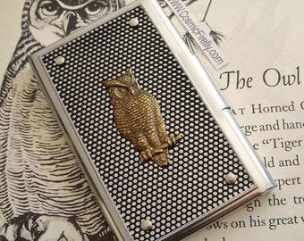 Owl Business Card Case Woodland Owl Card Case Steampunk Card Case Industrial Design Woman's Card Case Men's Card Case New Fancy Card Case