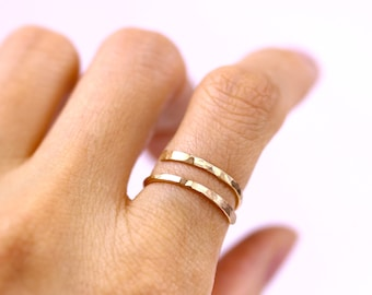 Delicate Hammered Bypass Ring, Gold or Silver or Rose Gold Adjustable Wrap Double Ring, Handmade Wire Ring, Knuckle Midi Toes Jewelry