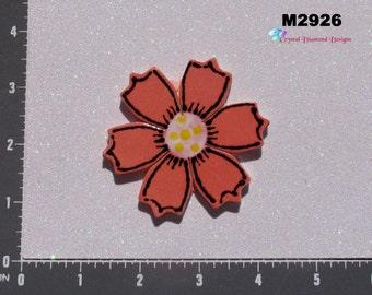 RED FLOWER - Kiln Fired Handmade Ceramic Mosaic Tiles M2926