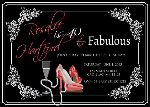 Ladies 40th Birthday Invitation Adult Forty Fabulous Red