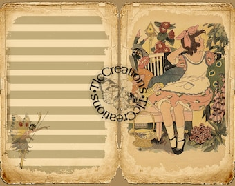The Fairies get ready for Summer Printable Vintage Junk Journal Kit, Notebook Scrapbook