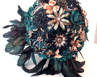 Emerald Green Couture Satin Rose, crystals and Vintage Brooch Bouquet