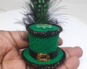 Glamor Fascinator Tiny Top Hat Green St. Patrick's Day