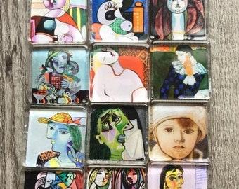 15OFF Art Glass Fridge Magnets Picasso (set of 6) cubist art 1inch (25mm)