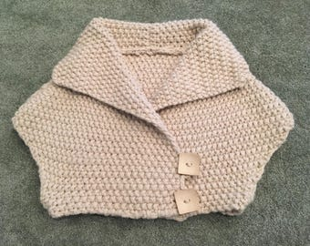 Handmade Chunky-Knit Bolero Sweater with Button Detail