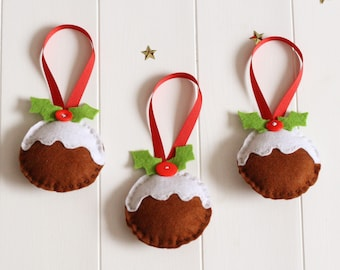 Make Your Own Christmas Pudding Decorations Sewing Kit, Felt Christmas Pudding Decorations, Christmas Pudding Sewing Kit, DIY Christmas Kit