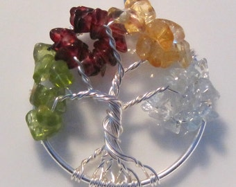 Birthstone Necklace Family Geneology Tree Pendant Personalized Gift Great Grandmother Mother Genuine Gemstones Sterling Jewelry