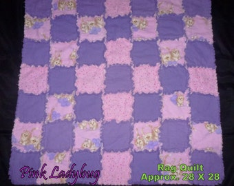 Pink and Purple Rag Quilt Blanket - Baby Rag Quilt Baby Girl Rag Quilt Pink Rag Quilt, Purple Rag Quilt Rag Quilt - Small Size Ready to Ship
