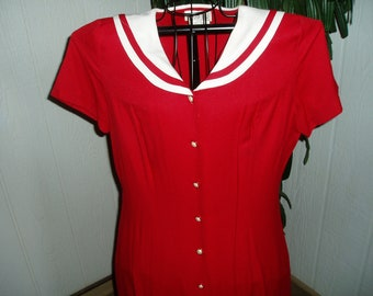 Red  and White AGB Sailor Style Dress