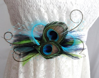 FRANCESCA Natural and Turquoise Peacock Feather Bridal Wedding Sash