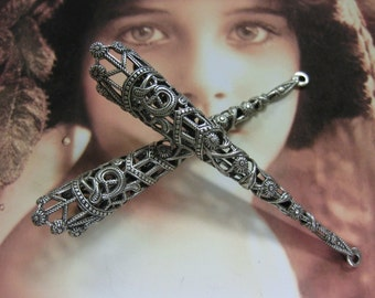 Sterling Silver Ox Plated Elongated Filigree Bead Cap 1150D SOX x2