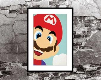 Mario Super Mario Brothers Close Up Vintage Poster Smash Brothers Brawl Melee Video Game Art Nintendo