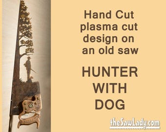 Metal Art Hunter Girl and Her Dog design Hand (plasma) cut Hand Saw   Wall Decor   Garden Art   Recycled Art   Repurposed  - Made to Order