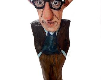 Woody Allen paper mache figure