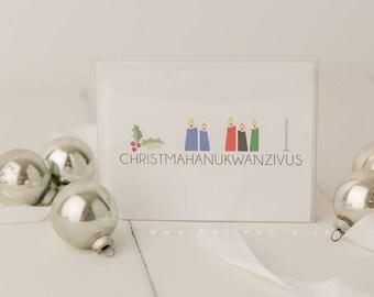 Christmahanukwanzivus Funny Minimal Holiday Greeting Card 5 card pack