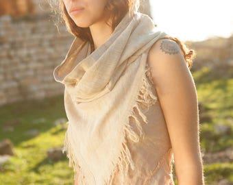 Hemp Infinity Scarf ~ Frayed Pointy Scarves. Tribal scarf. Gypsy scarf. Hippie scarf. Handmade scarf. Organic scarf. Nomadic scarf.