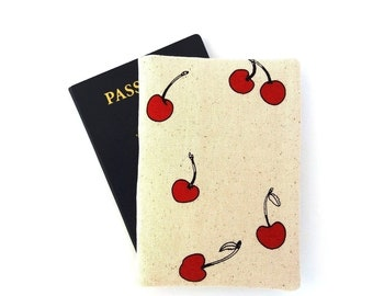 Cute red cherry passport cover, Two passport holder for women, Travel gifts for her, Cotton, Summer vacation, Fruit