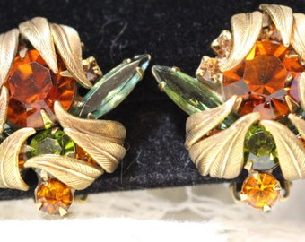 Bronze Clip on Earrings with Amber and Green Rhinestones