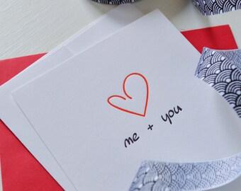 Me + You Card  : Letterpress