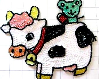 "Choice of Size Cow with Mouse Appliqué, Sequin Beaded, 7"" OR 3.5""   - jj742 - B222"