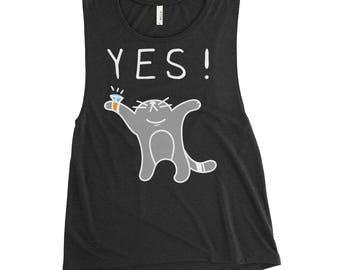 Yes - Cat - Ladies' Muscle Tank