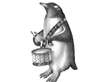 5x7 Giclee Print of Delacorte Clock Penguin with Drum