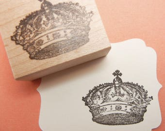 Crown  Rubber Stamp -  Handmade by Blossom Stamps