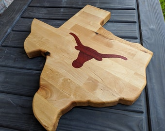 Texas shaped butcher block with padauk longhorn inlay