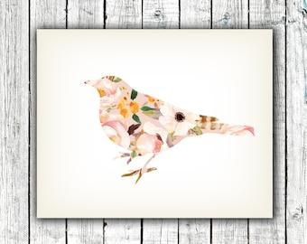 Nursery Printable, Bird, Little Girl, Watercolor, Flowers, Digital Download Size 8x10 #548