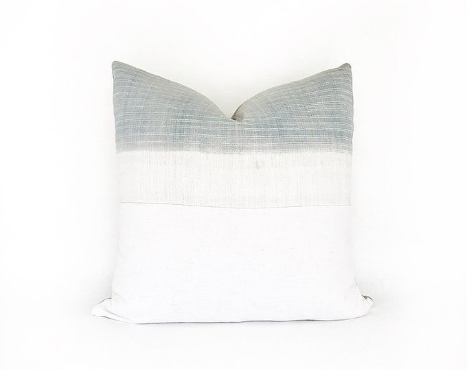 Vintage Super Faded Indigo Hemp Hmong Batik Textile And Antique French Linen Pillow Cover 20x20