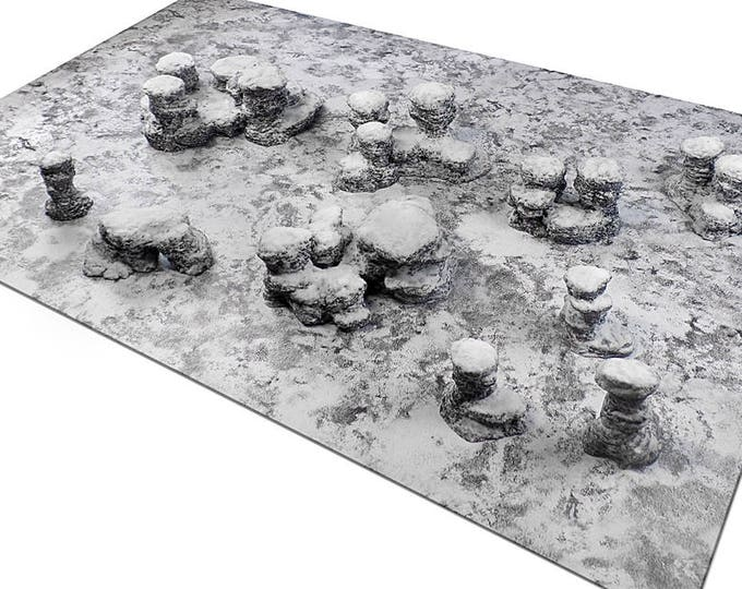 "Wargame Terrain - Spires & Plateaus - ""Ice and Snow"" Deluxe Bundle terrain set - 10 pieces - CUSTOMIZABLE"