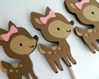 12 Girl Fawn Cupcake Toppers Girl Fawn Baby Shower Girl Fawn Birthday Party Fawn Cupcake Toppers Fawn First Birthday • Set of 12